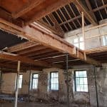 Timber beams in a building undergoing refurbishment