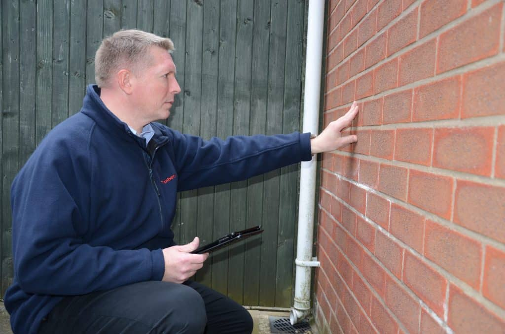 London surveyor inspecting a wall for dampness