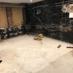 Empty corner of basement ready for waterproofing