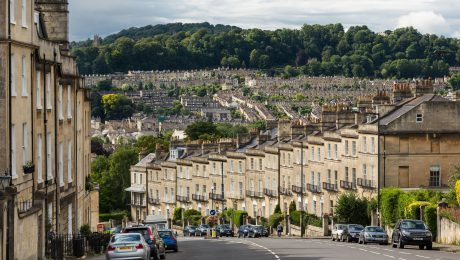 A view of terraced houses in Wales