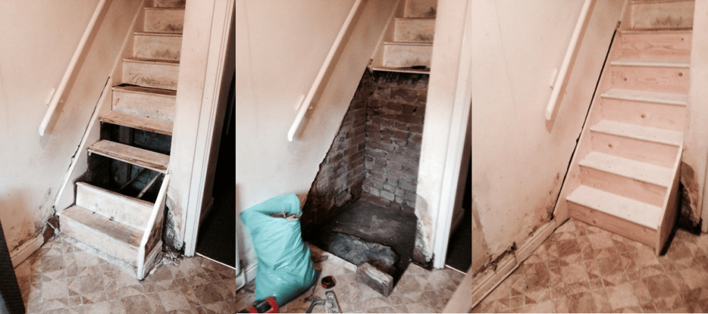 Remedial works carried out on the staircase