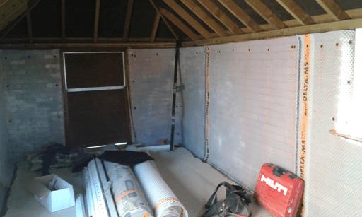Cavity wall membrane on Barn conversion wall