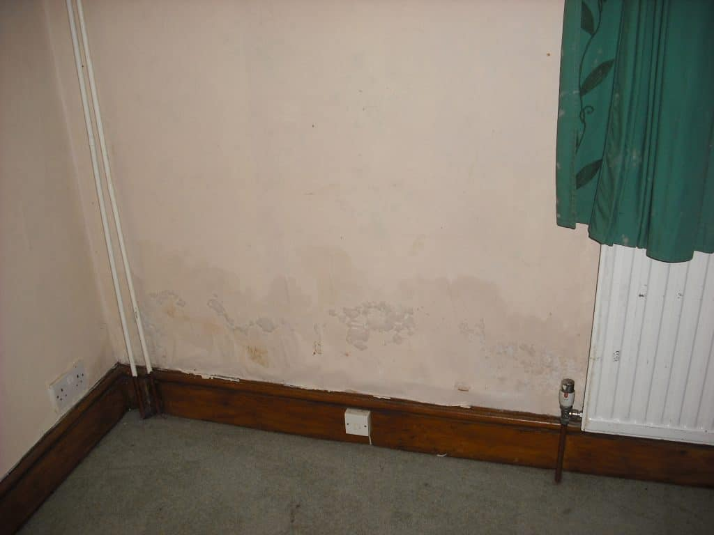 Damp stains on an interior wall