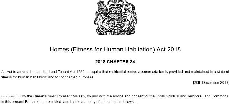 Front cover of the Homes Fitness for Human Habitation Act 2018