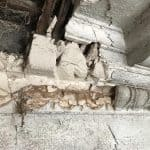 Damaged plaster as a result of dry rot