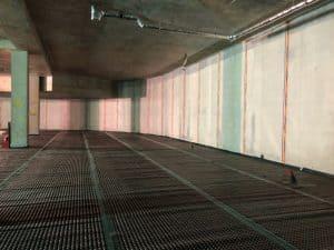 Cavity drain membrane in a basement