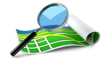 Magnifying glass with map