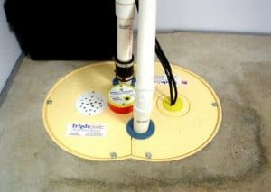 Sump pump unit installed in a basement