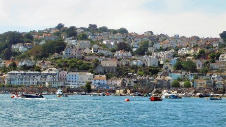 Salcombe Waterfront with colourful houses and boats