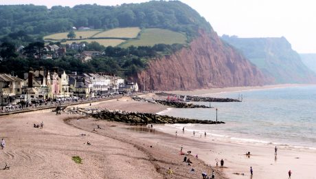 People on the beach at Sidmouth