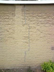Crack in wall causing penetrating damp