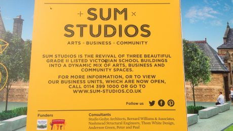 Sign giving details for SUM Studios