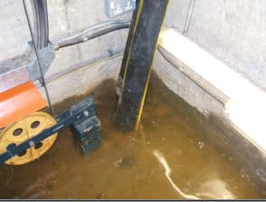 Standing water in a lift pit