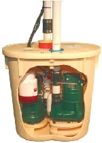 Basement waterproofing sump pump unit